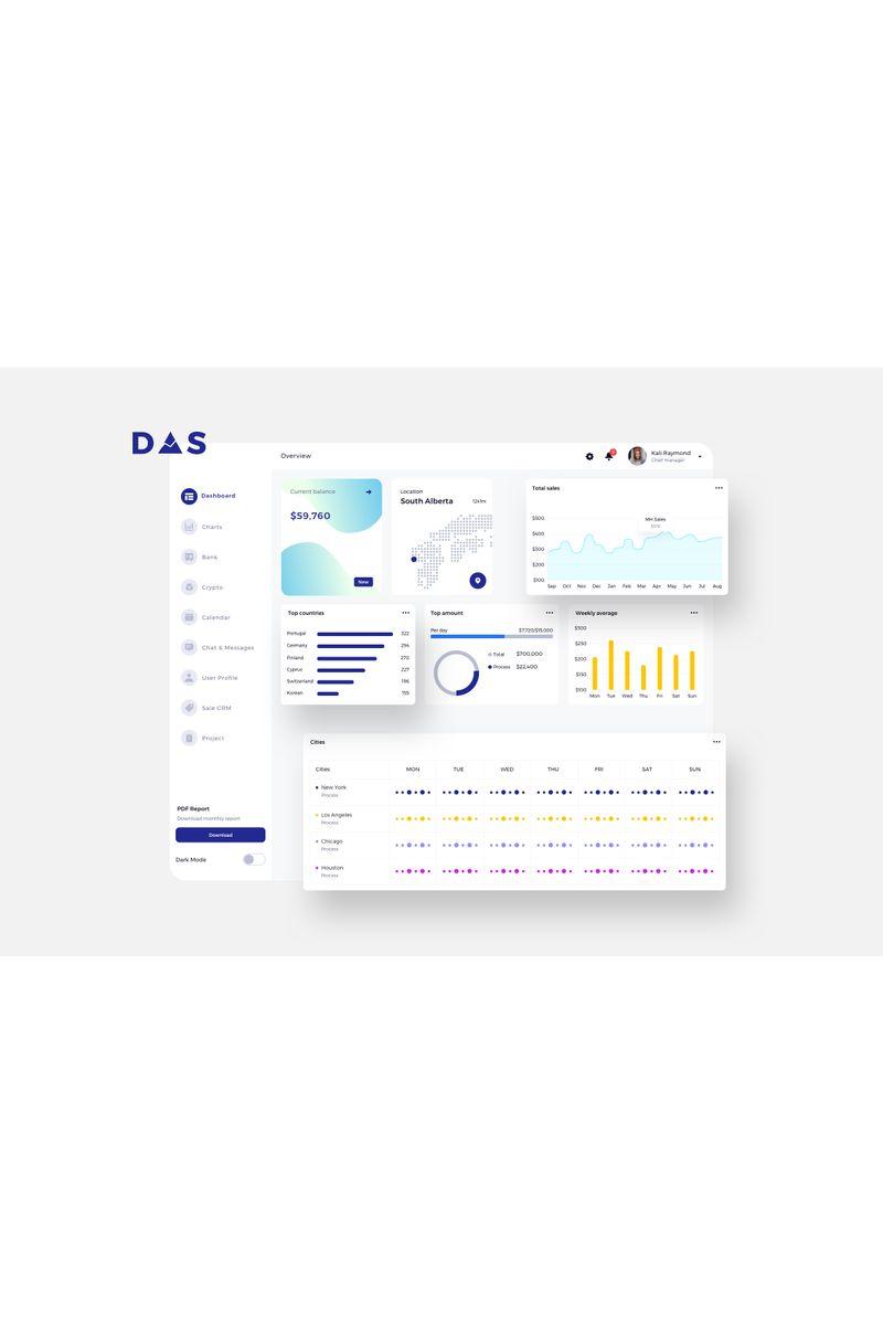 DAS Finance Dashboard Ui Light Template de Ilustração №94128