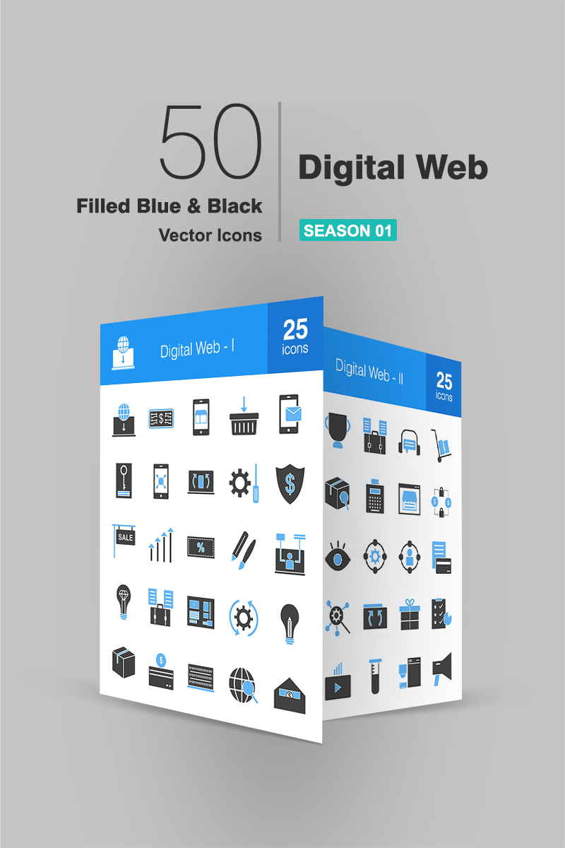 50 Digital Web Filled Blue & Black Iconset Template