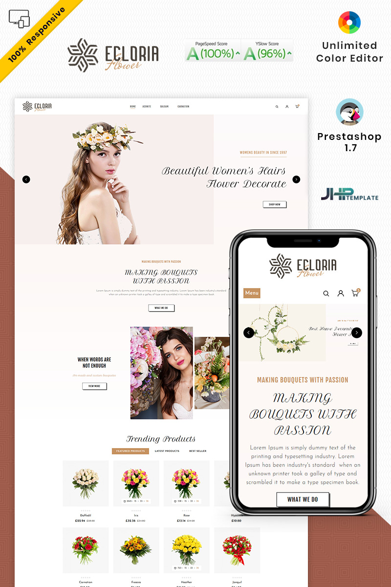 """Ecloria Flower"" thème PrestaShop adaptatif #94144 - screenshot"