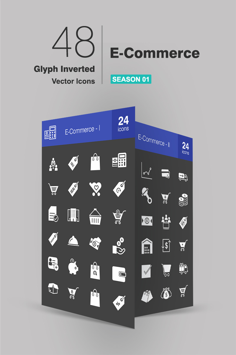 48 Ecommerce Glyph Inverted Iconset-mall #94182