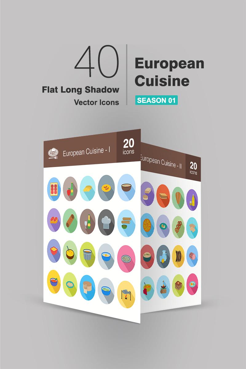 """""""40 European Cuisine Flat Long Shadow"""" ensemble d'Icônes  #94175 - screenshot"""