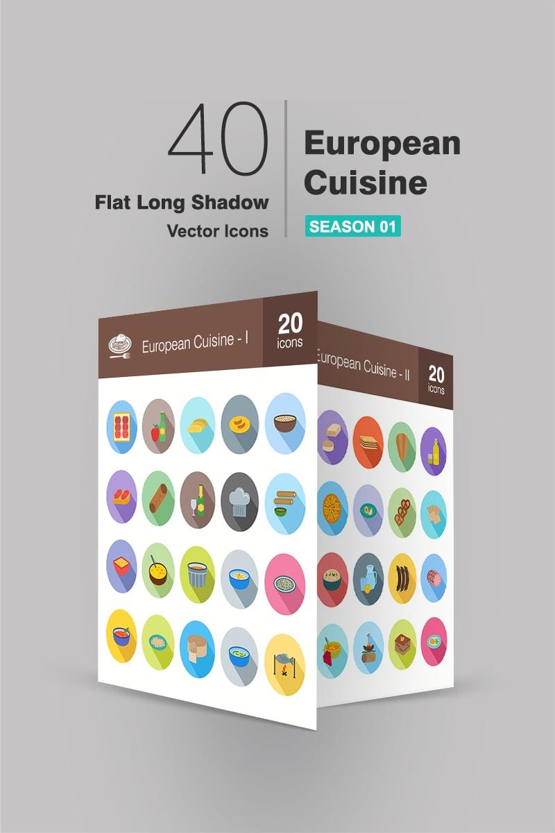 40 European Cuisine Flat Long Shadow Iconset Template