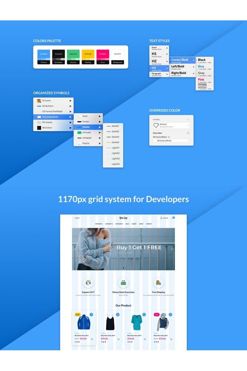 """Fluorine - eCommerce Responsive Web UI Kit"" - Sketch шаблон №94138"