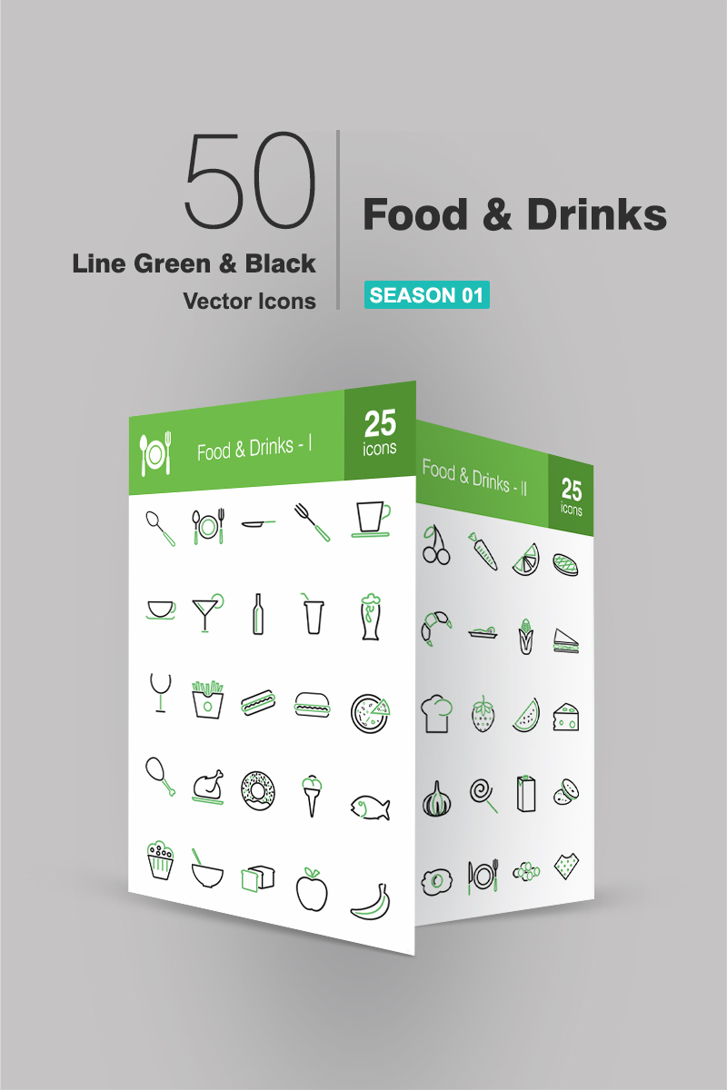 50 Food & Drinks Line Green & Black Ikon csomag sablon 94185