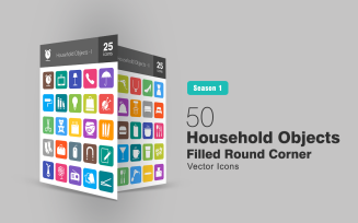 50 Household Objects Filled Round Corner Icon Set
