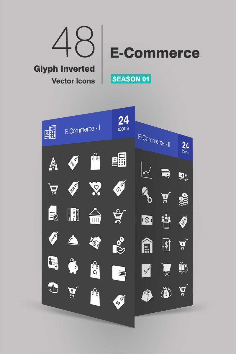 """Icon-Sammlungen Vorlage namens """"48 Ecommerce Glyph Inverted"""" #94182"""