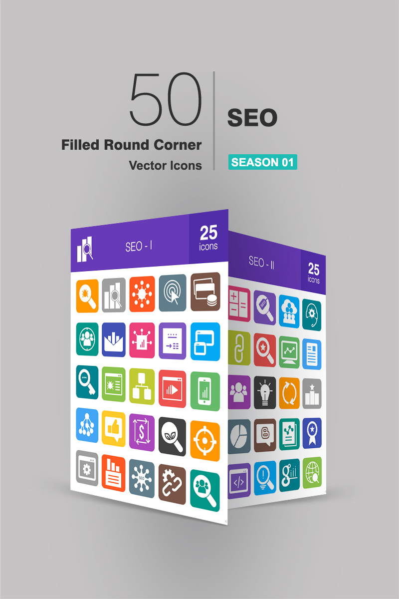 """Icon-Sammlungen Vorlage namens """"50 SEO Filled Round Corner"""" #94181"""