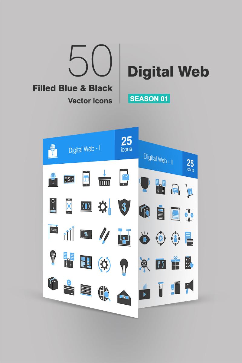 """Iconset šablona """"50 Digital Web Filled Blue & Black"""" #94164"""