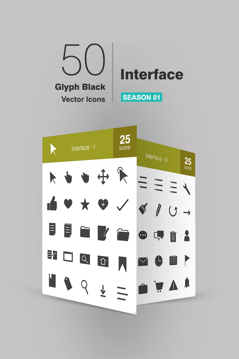 "Iconset šablona ""50 Interface Glyph"" #94150"