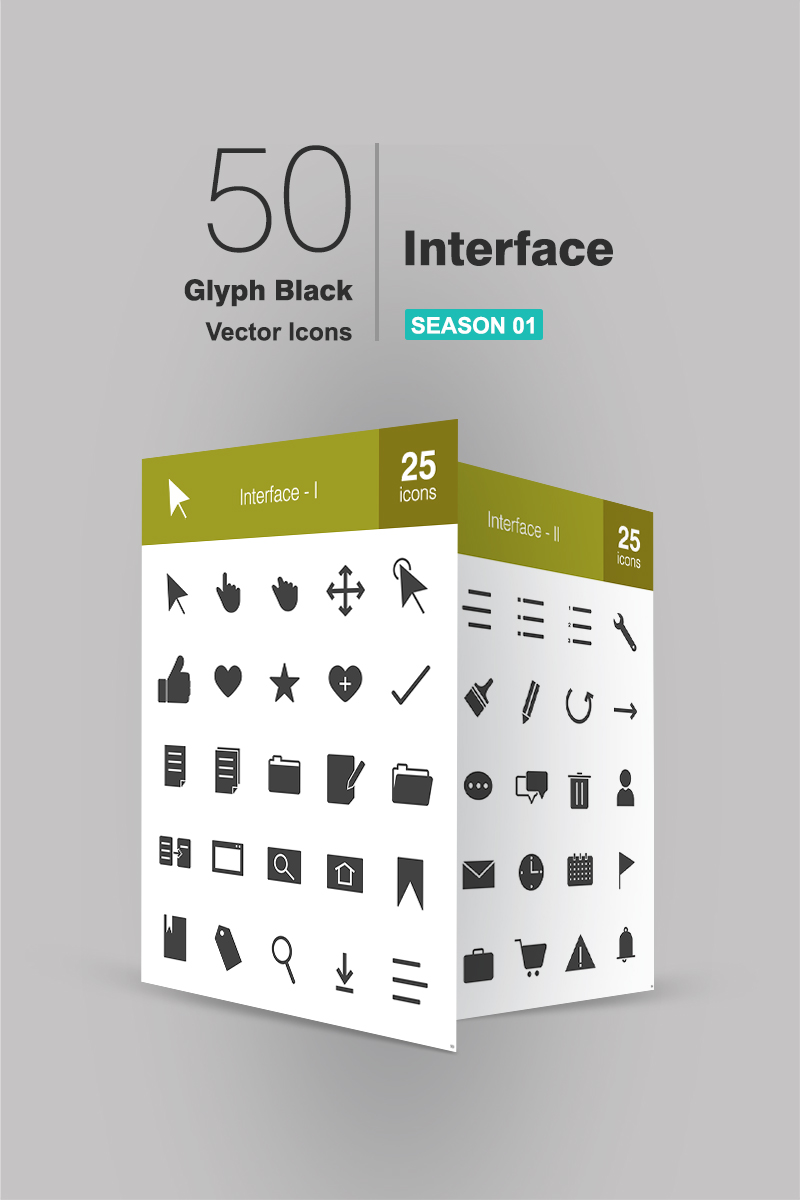 50 Interface Glyph Iconset Template