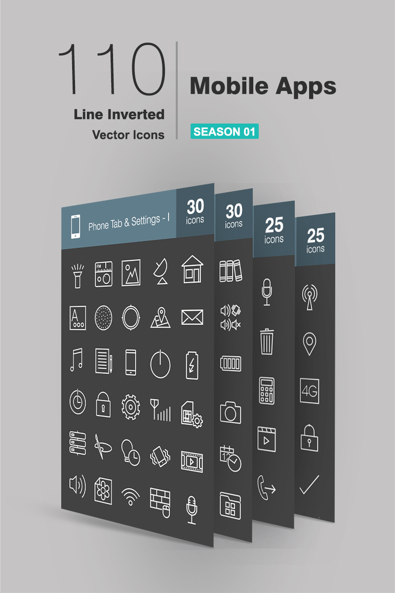 110 Mobile Apps Line Inverted Iconset Template - screenshot