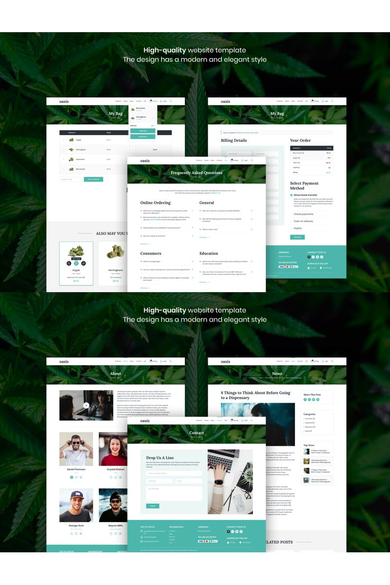 Oasis - Marijuana eCommerce Sketch Template