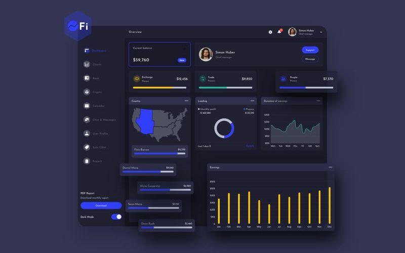 OFi Finance Dashboard Ui Dark Sketch Template