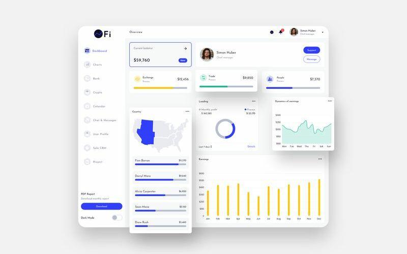 OFi Finance Dashboard Ui Light Sketch Template