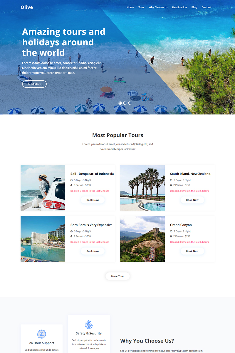 """Olive - Travel Agency"" Bootstrap Landingspagina Template №94140"