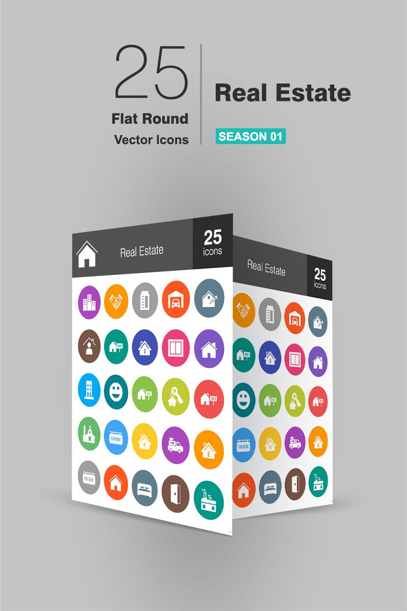 """Plantilla De Conjunto De Iconos """"26 Real Estate Flat Round"""" #94179 - captura de pantalla"""