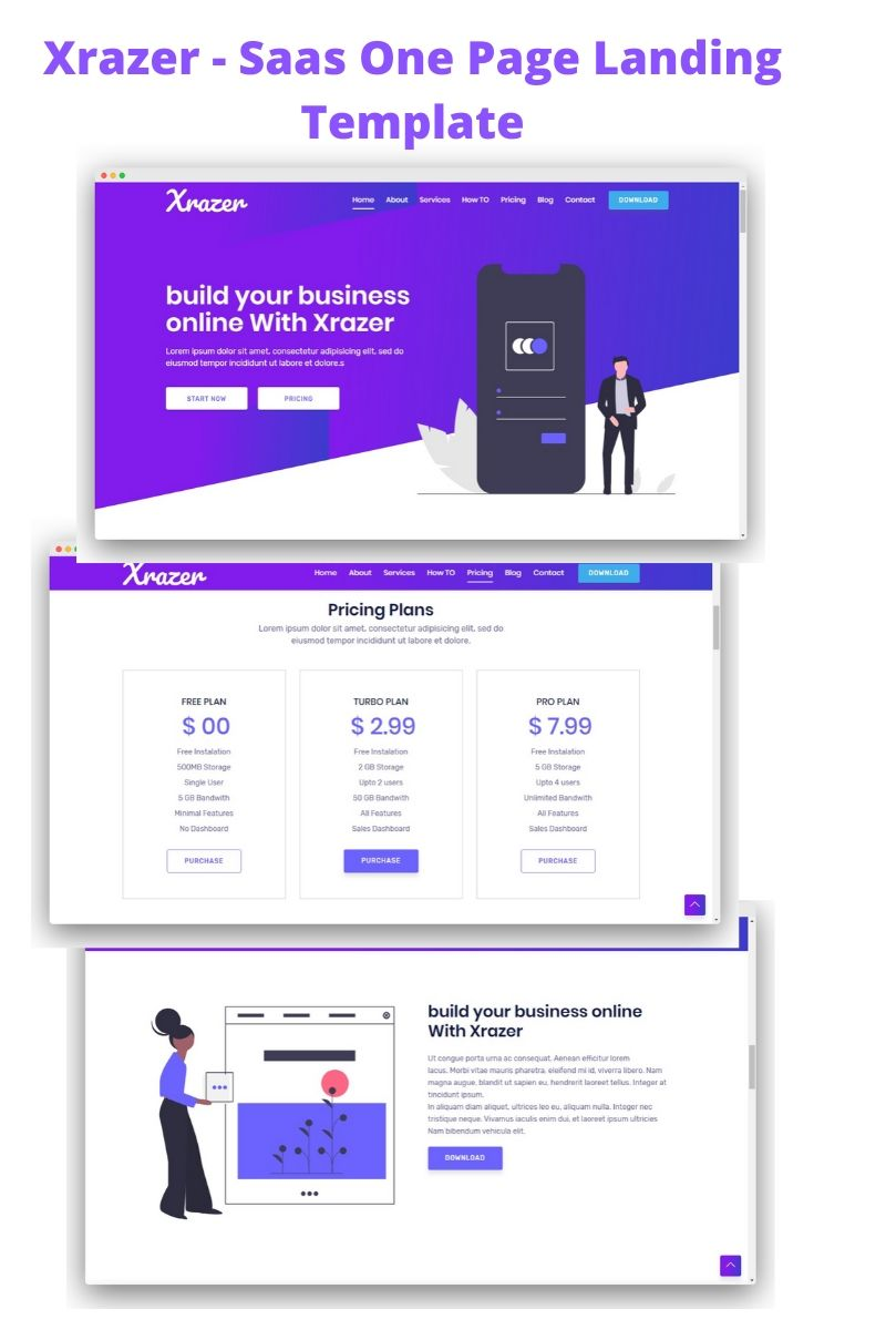 Responsivt Xrazer - BootStrap 4 Responsive Landing Page-mall #94142