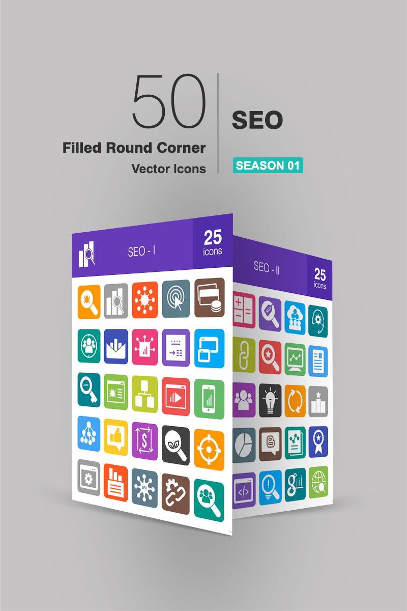 """50 SEO Filled Round Corner"" ensemble d'Icônes  #94181 - screenshot"
