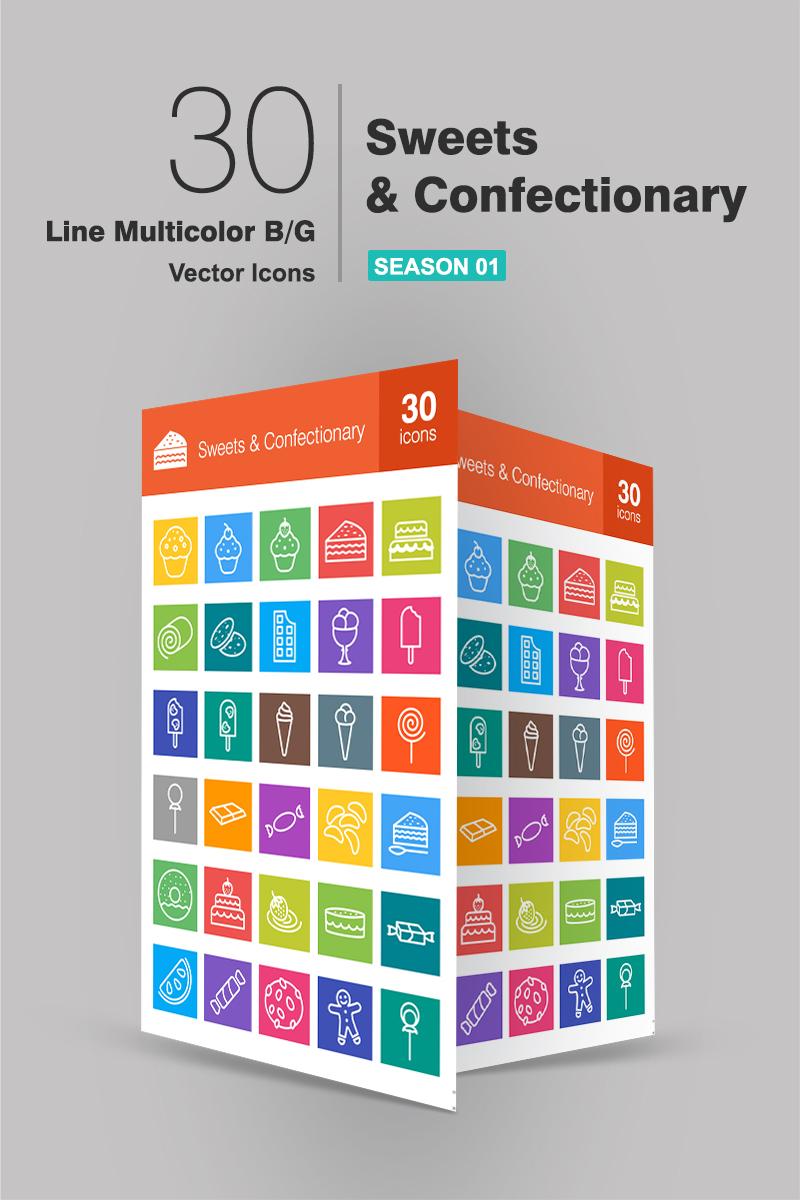 30 Sweets & Confectionery Line Multicolor B/G Conjunto de Ícones №94184