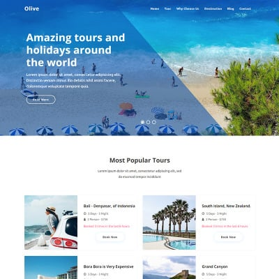 """Tema di Landing Page Bootstrap #94140 """"Olive - Travel Agency"""" #94140"""