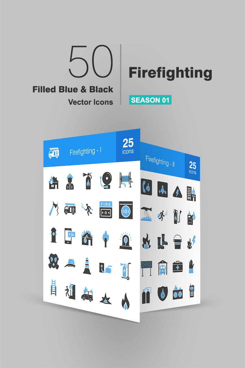 "Tema Pacchetto Icone #94173 ""50 Firefighting Filled Blue & Black"""