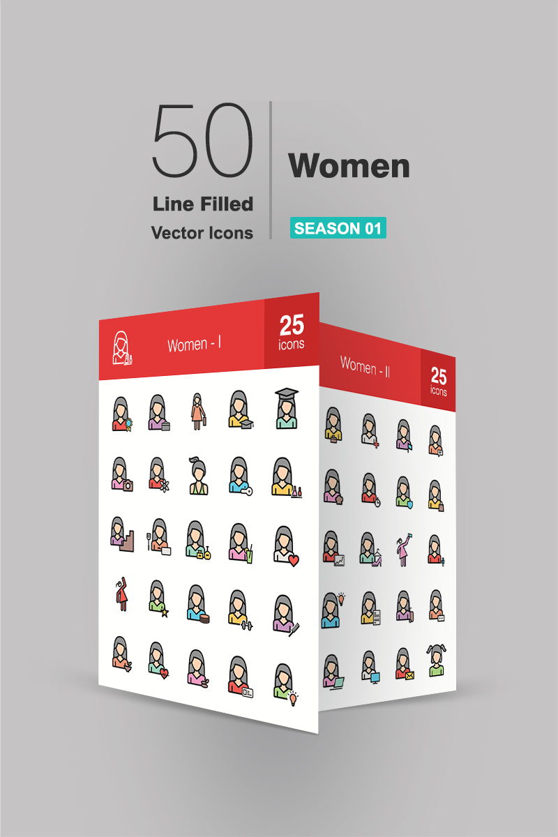 "Tema Pacchetto Icone #94176 ""50 Women Filled Line"" - screenshot"
