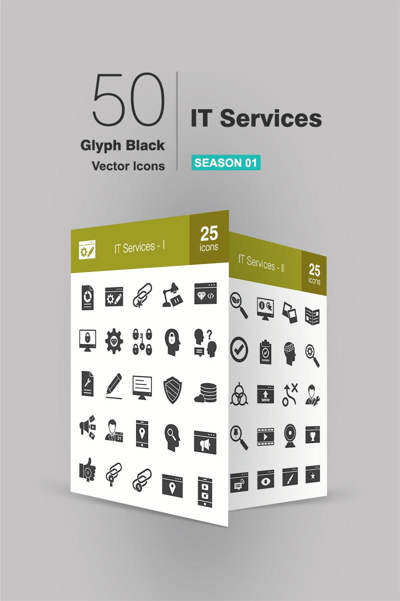"""Template Pacchetto Icone #94171 """"50 IT Services Glyph"""" - screenshot"""