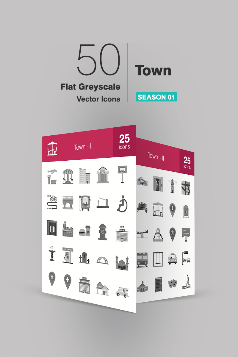 "Template Pacchetto Icone #94174 ""50 Town Flat Greyscale"""