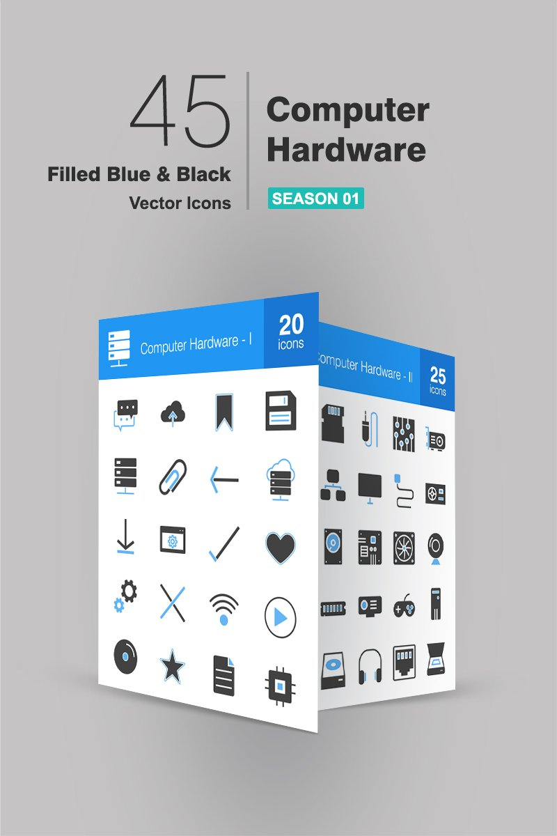 "Template Pacchetto Icone #94180 ""45 Computer & Hardware Filled Blue & Black"""