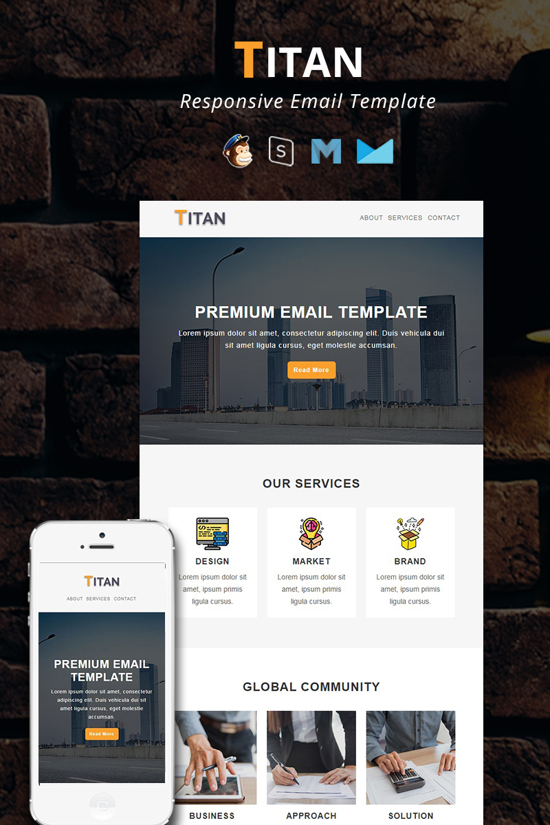 """TITAN - Corporate Responsive Email"" Responsive Nieuwsbrief Template №94186"