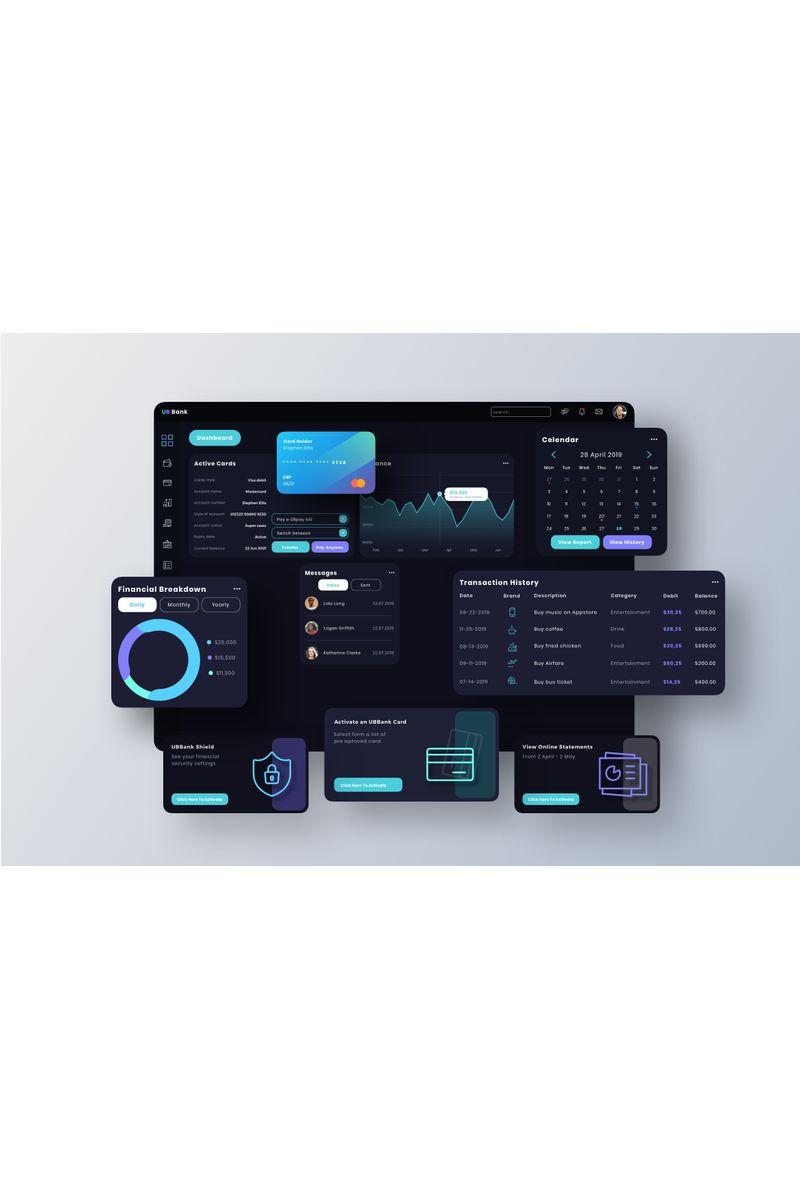 """UB Bank Dashboard UI"" modèle Sketch  #94100"