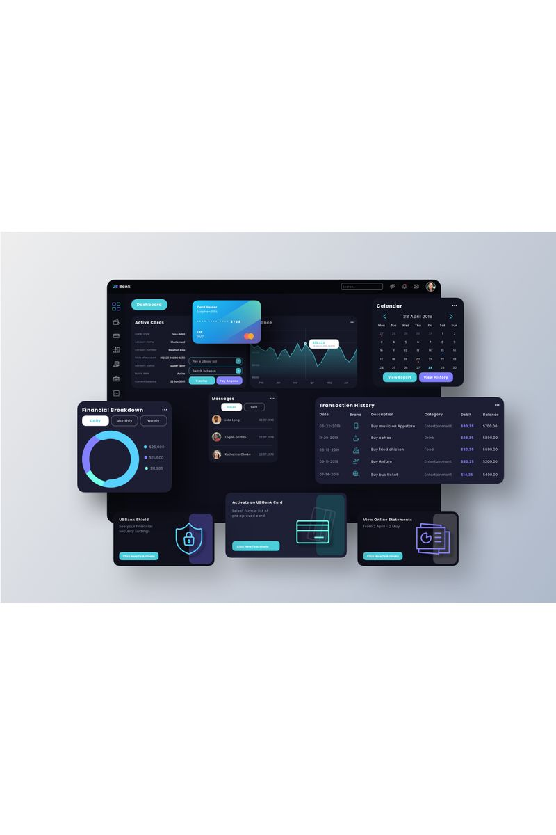 UB Bank Dashboard UI Template de Ilustração №94100