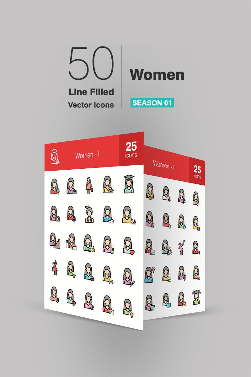 """""""50 Women Filled Line"""" ensemble d'Icônes  #94176"""