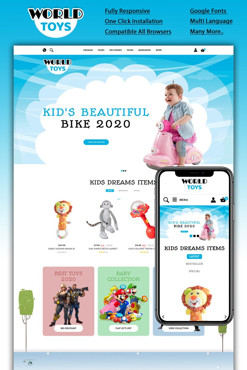 """Worldtoys - Toy Store"" Responsive OpenCart Template №94143"