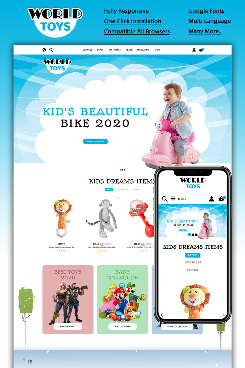 Worldtoys - Toy Store Template OpenCart №94143