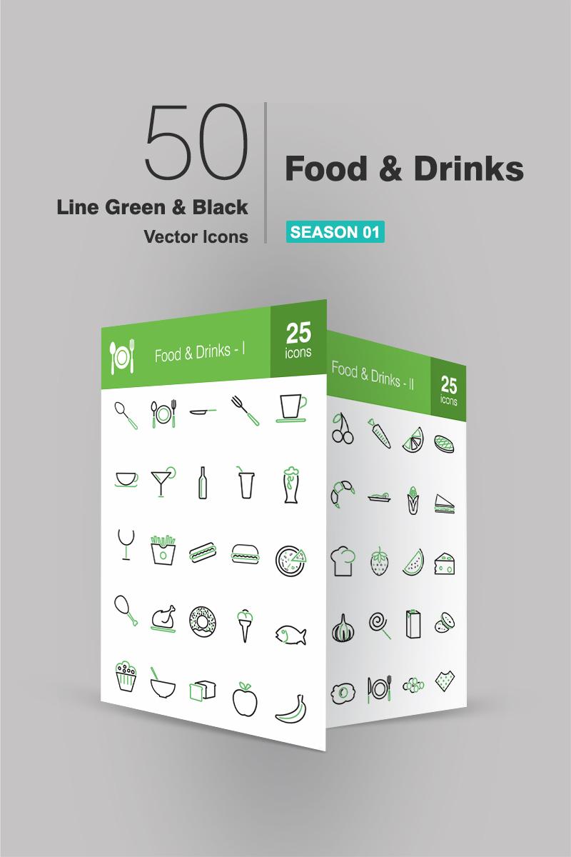 Zestaw Ikon 50 Food & Drinks Line Green & Black #94185 - zrzut ekranu
