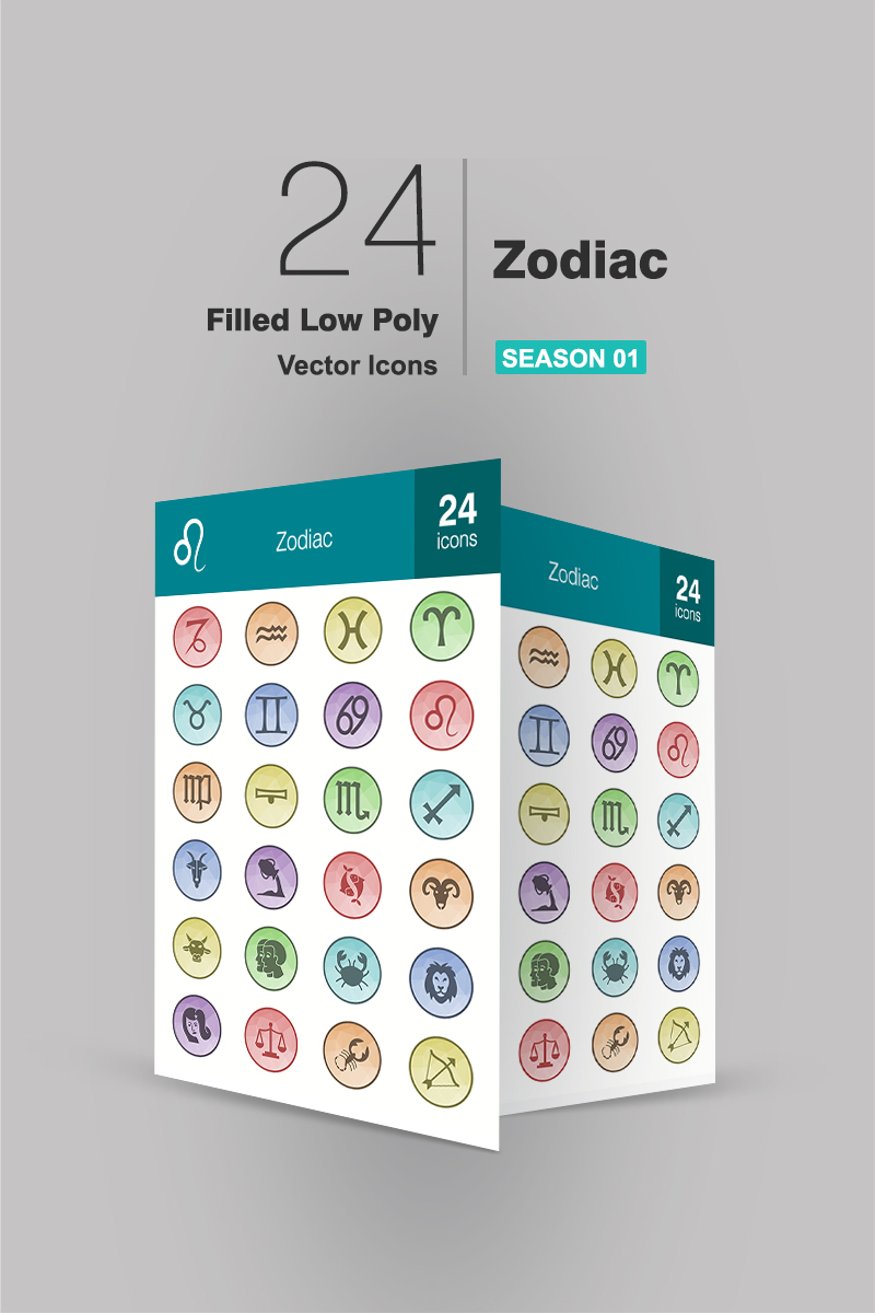 24 Zodiac Filled Low Poly Iconset Template