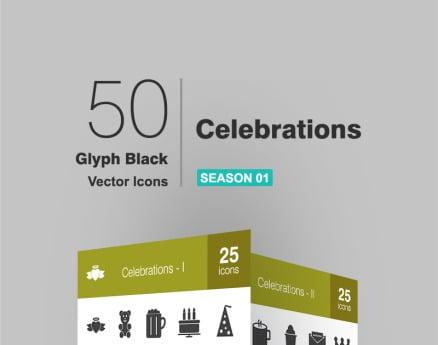 50 Celebrations Glyph Icon Set