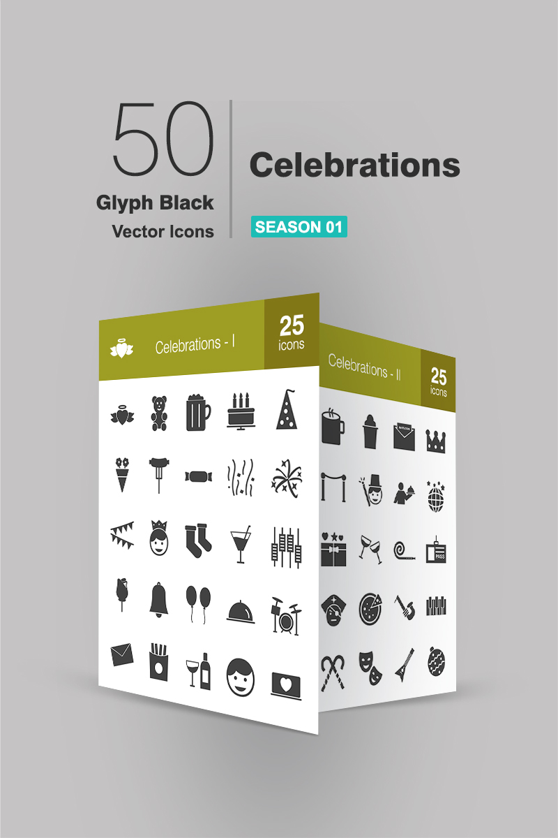 """50 Celebrations Glyph"" Iconset template №94270 - screenshot"
