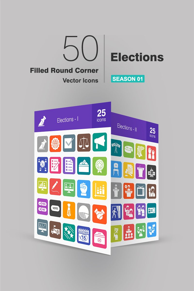 50 Elections Filled Round Corner Iconset Template