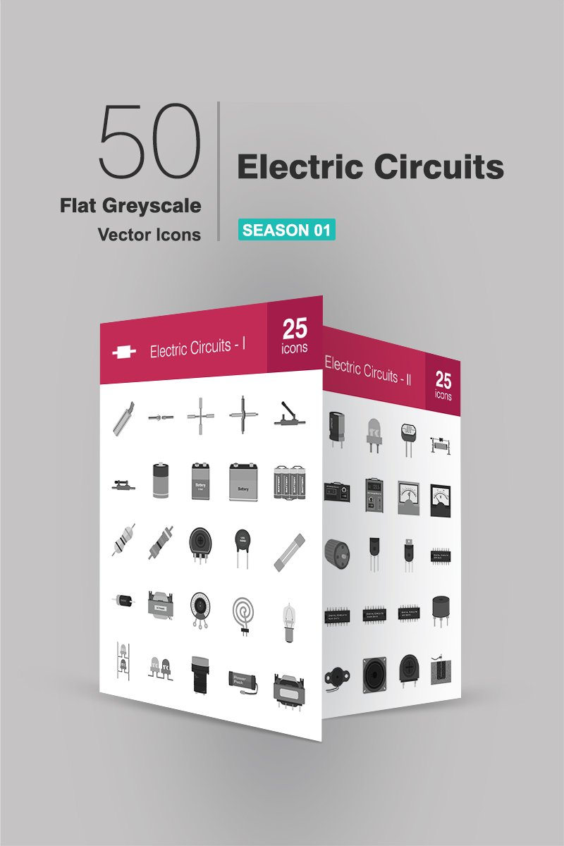 50 Electric Circuits Flat Greyscale Iconset Template