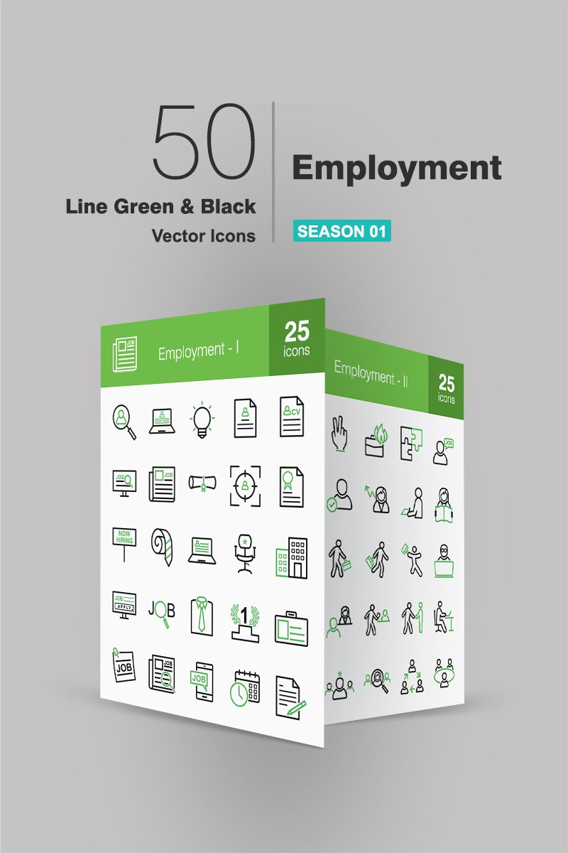 50 Employment Line Green & Black Iconset Template
