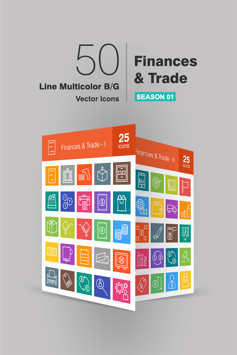 50 Finances & Trade Line Multicolor B/G Iconset Template
