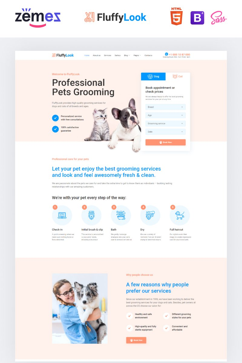 """FluffyLook - Pet Grooming Salon"" Responsive Website template №94294"