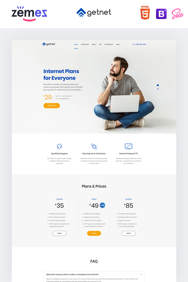 """GetNet - Internet Service Provider"" Responsive Landingspagina Template №94209"