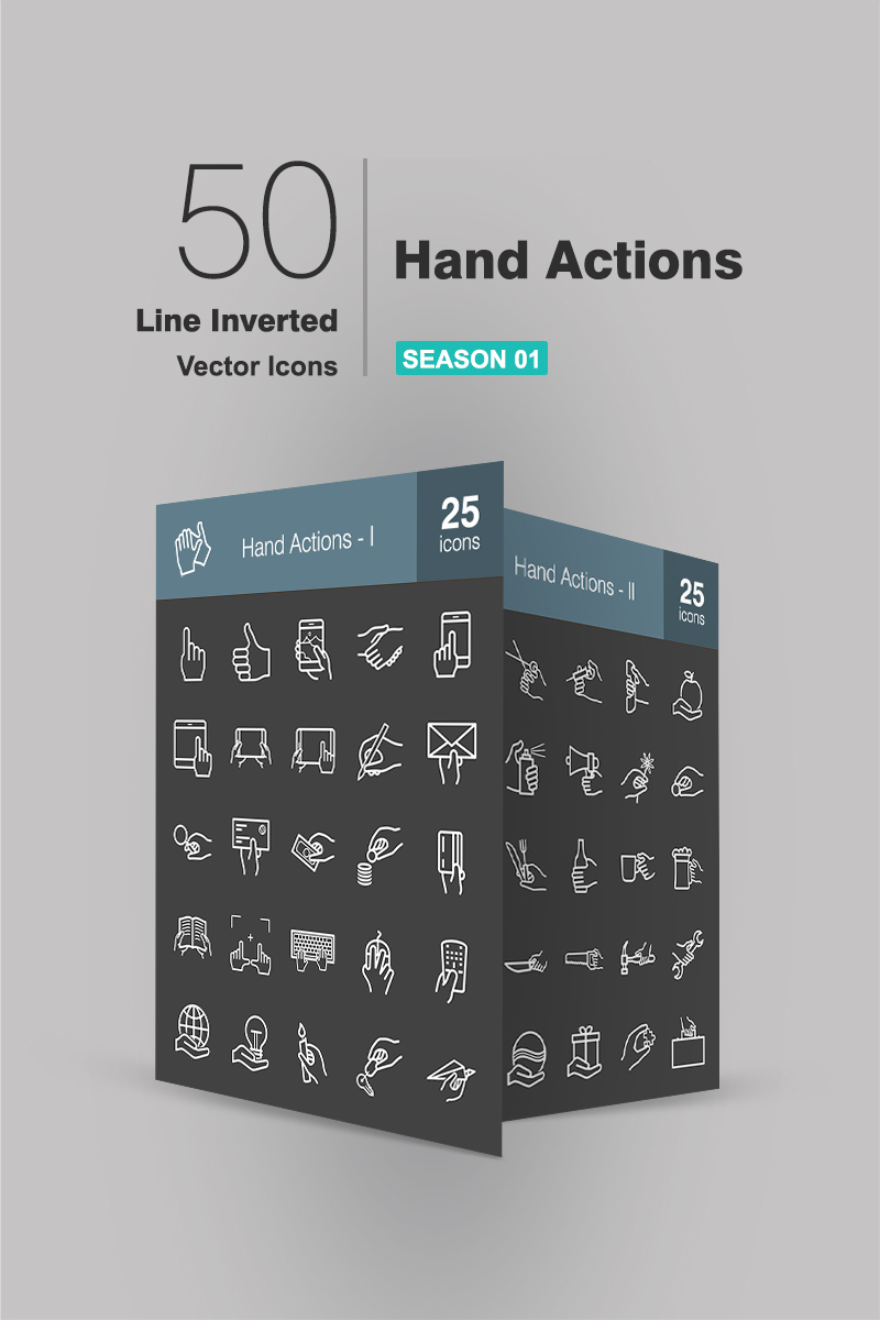 50 Hand Actions Line Inverted Ikon csomag sablon 94274