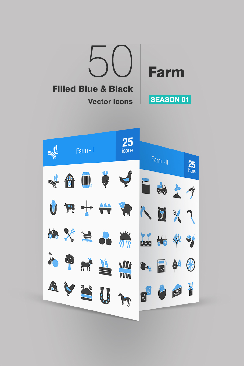 "Iconset šablona ""50 Farm Filled Blue & Black"" #94282"