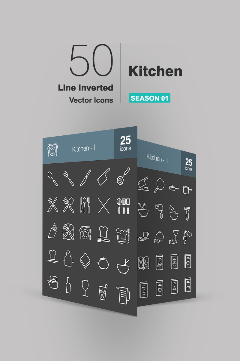 50 Kitchen Line Inverted Iconset Template