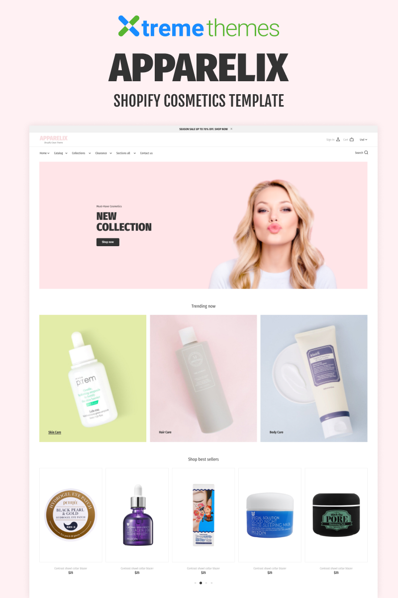 """Korean Cosmetics Store"" Shopify模板 #94208 - 截图"