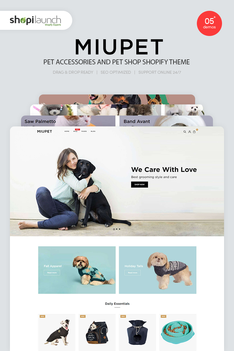 """MiuPet - Pet Accessories and Pet Shop"" Shopify Thema №94295"